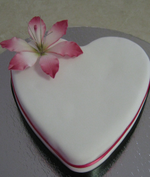 White heart shaped engagement cake with bright pink ribbon and flower.PNG
