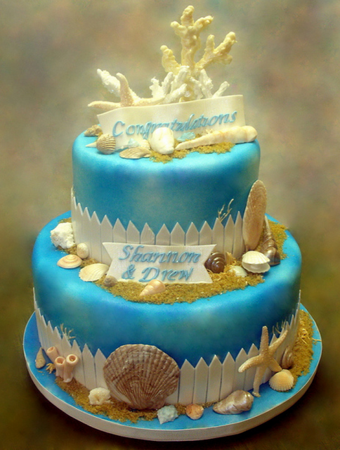 Beach sea theme engagement cake picture.PNG