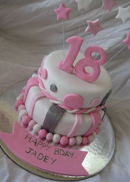 Dual tier white and pink 18th birthday cake.JPG
