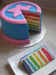Rainbow layered round cake with pink star on top.JPG
