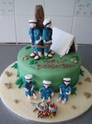Scout prank theme first birthday cake.JPG