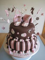 2 Tier Women's Twenty-First birthday cake in chocolate and pink with shoes and purses.JPG