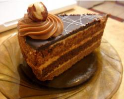 Chocolate cake slice with mocha butter cream and white cream layers.JPG