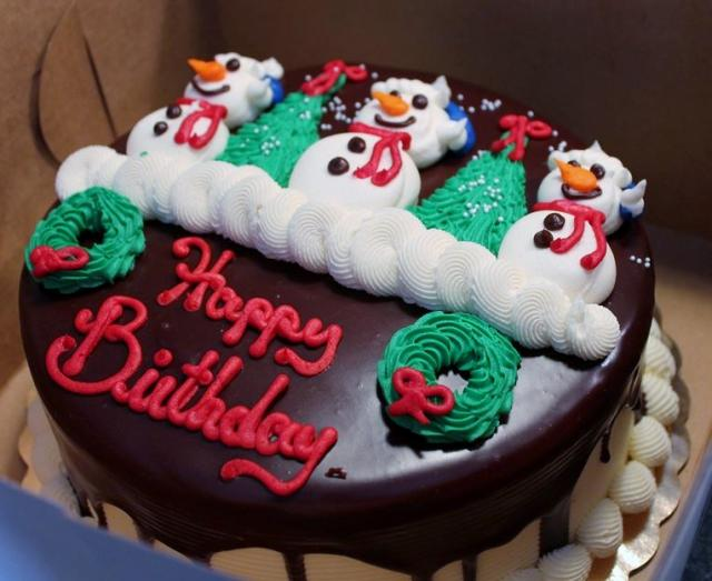 Christmas Theme Chocolate Birthday Cake With Triple