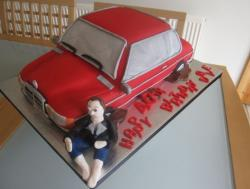 Red Mercedes car birthday cake.JPG