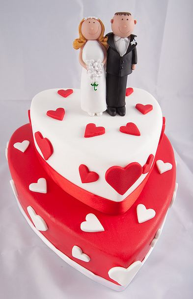 Heart Shaped Red Cake Images : Two tier heart shaped wedding cake in white and red with ...