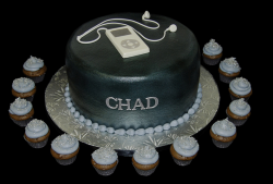 Chic Bar Mitzvah cake in black with ipod as cake decor.PNG
