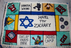 Colorful Bar Mitzvah cake in square shape.PNG