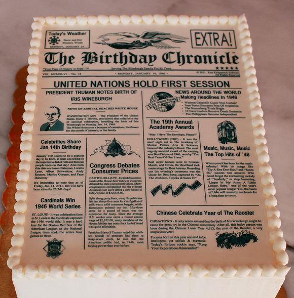 Newspaper theme birthday cake.JPG