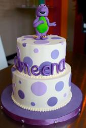 Two tier round Barney cake.JPG