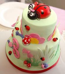 Two tier third birthday cake with ladybug on top.JPG