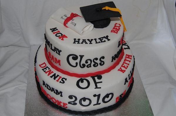 Two Tier Round White Graduation Cake With Cap And Diploma Jpg