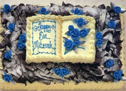 Bar Mitzvah cake with blue flowers cake decoration picture.PNG