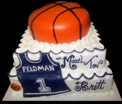Bat Mitzvah cake with basketball cake decoration.PNG