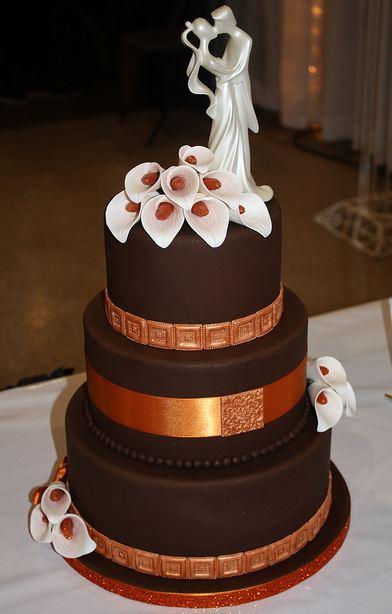 Elegant 3 Tier Round Chocolate Wedding Cake With Ivory Bride And Groom TopperJPG