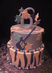 Two tier salmon and lavender round sixth birthday cake with the number 6 on top.JPG
