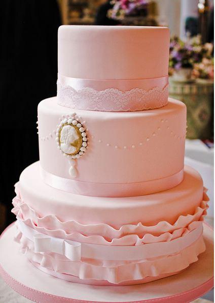 Three Tier Pink Round Wedding Cake With Vintage Look Jpg