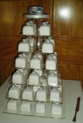 white cake cups wedding cake