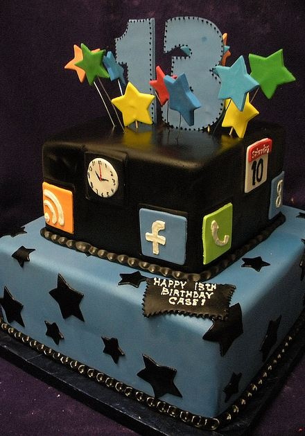 Two Tier 13th Birthday Cake With Internet Theme Jpg