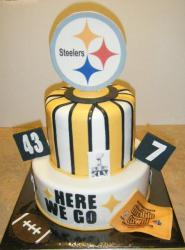 Two tier Pittsburgh Steelers cake.JPG