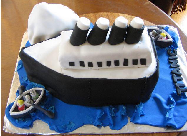 Titanic Theme Birthday Cake With Iceberg Jpg