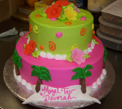 Bat Mitzvah cake with tropical flowers decor.PNG