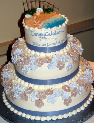 Beach theme Bat Mitzvah cake with three tiers.PNG