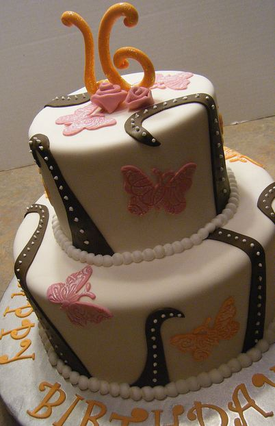 Two Tier Round White Sweet 16 Birthday Cake With ButterfliesJPG