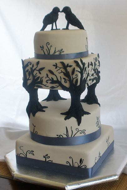 Unique birds and tree four tier wedding cake.JPG