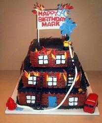 Three tier fire figher building on fire theme birthday cake.JPG