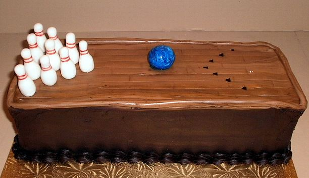 Bowling Lane Chocolate Cake With Pins And Ball Jpg