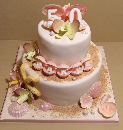Awesome Two Tier Pink Beach Theme 50Th Birthday Cake With Sea Shells Jpg Funny Birthday Cards Online Inifofree Goldxyz