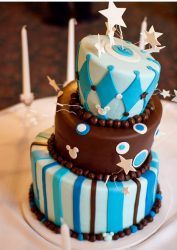 Chocolate Bat Mitzvah cake with modern cake decoration.PNG