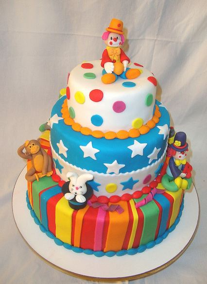 3 Tier Circus Theme Cake With Clowns And Monkey And Rabbit