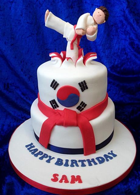 Taekwondo Karate Martial Arts Theme 2 Tier Cake With Korean FlagJPG
