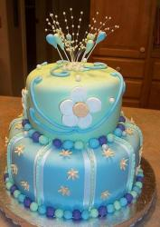 Two tier light green and blue round birthday cake with upright pearl strings on top.JPG