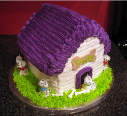 Cool dog house cake with puppies surrounding.PNG
