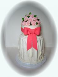 White dress with pink bow bridal shower cake.jpg
