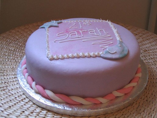 Round purple 21st birthday cake.jpg