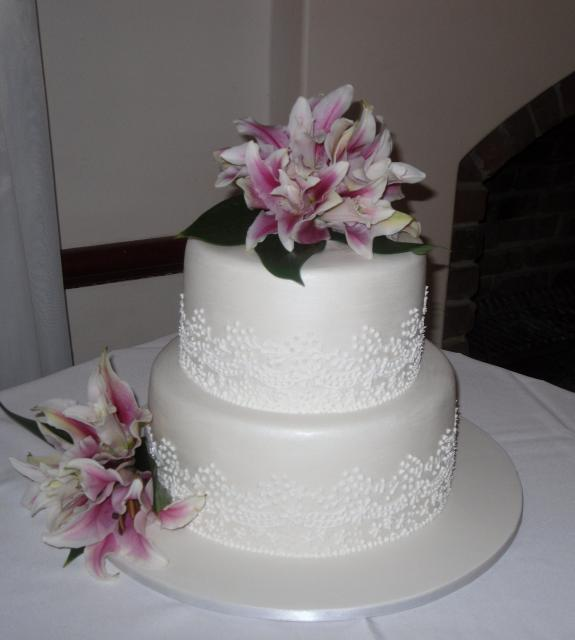 Wedding Flowers By Annette: Two Tier Wedding Cake With Fresh Flowers-Annette's