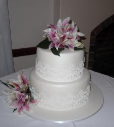 Two tier wedding cake with fresh flowers-Annette's Heavenly Cakes