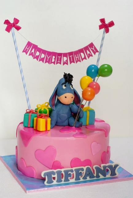 Eeyore Birthday Cake In Pink For Girl With Baloons Gift Boxesg