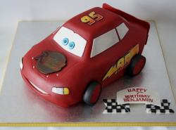 Lighting McQueen sculpted cake for 7-year-old boy.JPG