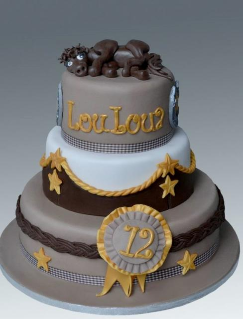3 Tier Chocolate Birthday Cake With Ribbon Horse On Top