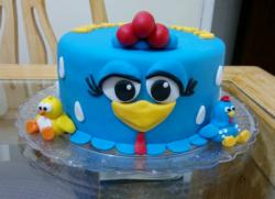 Blue bird theme round birthday cake with big eyes and beak.JPG