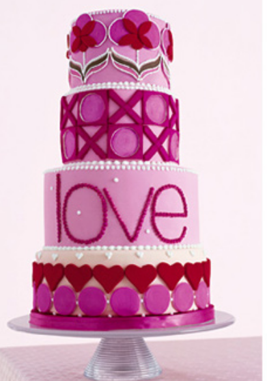 Trendy Wedding Cake In Four Tiers With Love Theme