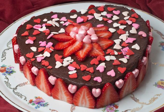 Chocolate Heart Shaped Valentine Cake With Fresh
