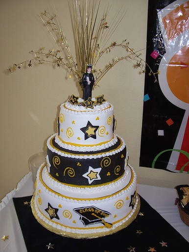 3 Tier Graduation Cake With White Gold And Black Color