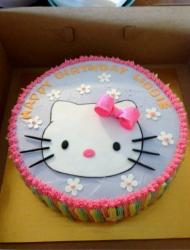 Hello Kitty birthday cake with pink bow.JPG