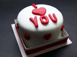 I Heart You Round White Valentine Cake.JPG